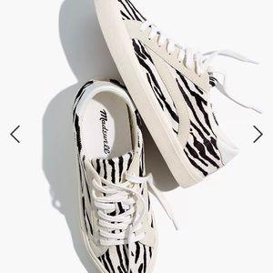 Madewell Sidewalk Low-Top in Zebra Calf Hair